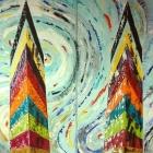Torres gemelas. Oleo sobre lienzo. 180 x 160 cm.